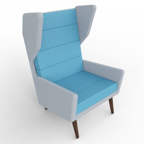 2 - Blue And Grey Upholstered Wing Back Chair With Sturdy Walnut Legs