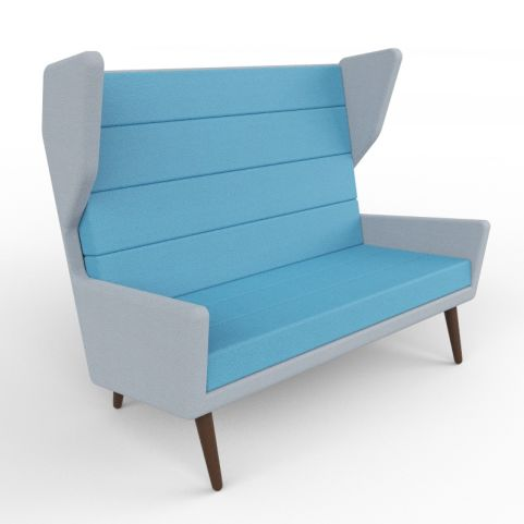6 - Modern Two-tone Upholstered Acoustic Seating For Two People, Walnut Legs