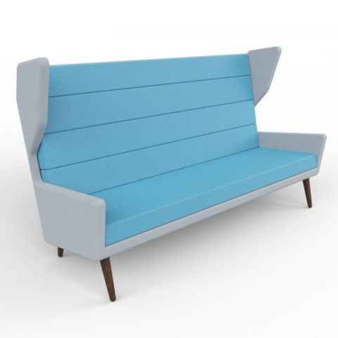 9 - High-quality Upholstered Three Person High Wing Back Sofa In A Range Of Vibrant Two-tone Fabrics, Walnut Legs