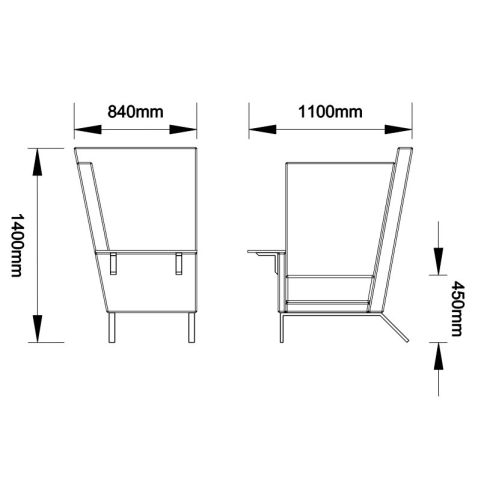 1 - Single High Back Acoustic Chair Dimensions