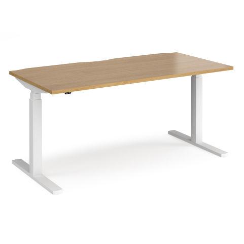 Elev8 Touch Control Height Adjustable Office Desk - WHITE FRAME-OAK