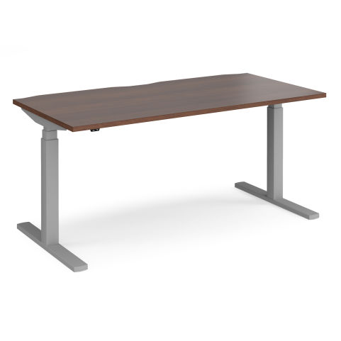 Elev8 Touch Dual-motor Sit-stand Office Desk - SILVER FRAME-WALNUT