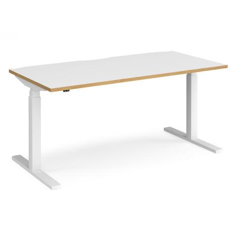 Elev8 Touch Height Adjustable Desk - WHITE FRAME-WHITE OAK