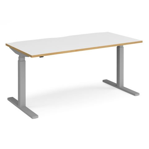 Elev8 Touch Height Adjustable Sit-stand Office Desk - SILVER FRAME-WHITE OAK