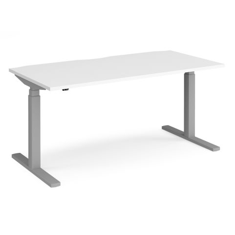 Elev8 Touch Sit-stand Height Adjustable Single Desk - SILVER FRAME-WHITE