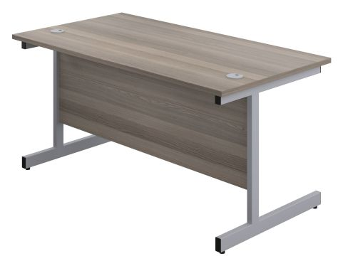 Draycott 1200mm Shalow Desk In Grey Oak Front Angle View