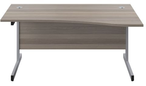 Draycott 1600mm Wave Desk In Grey Oakfront View