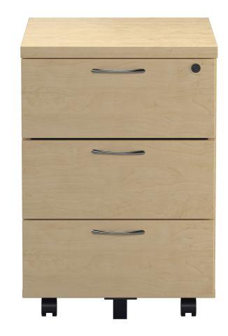 Draycott Three Drawer Under Desk Pedstal In Maple Front View