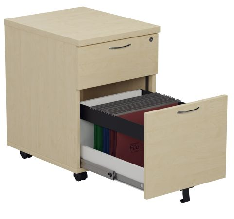 Draycott Two Drawer Mobile Pedestal In Maple