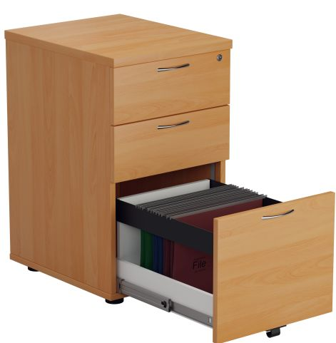 Draycott Desk Height Pedestal In Beech Front Angle View