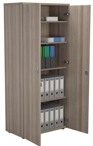 DRaycott Tall Wooden Cupboard In Grey Oak