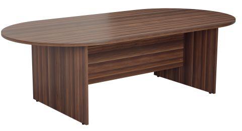 Draycott Barrel Meeting Table In Walnut Angle View