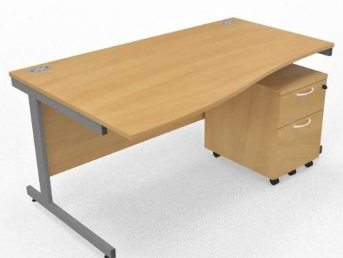 Draycott Left Hand Wave Desk And Under Desk Pedestal