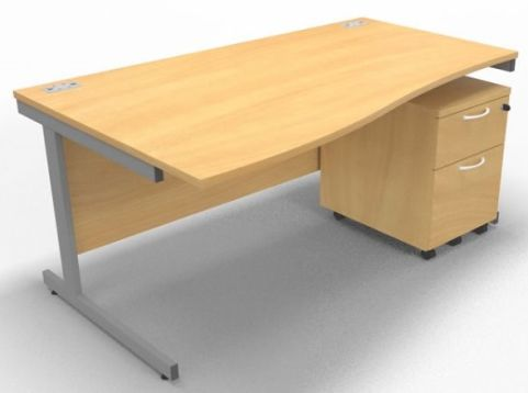 Draycott Left Hand Wave Desk And Under Desk Pedestal In Beech