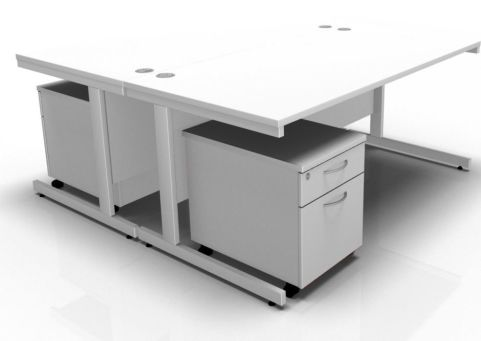 Draycott Two Person Desk And Pedestal In White