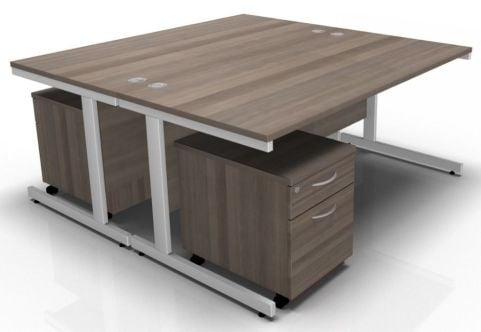 Draycott Two Person Desk And Pedestal In Grey Oak