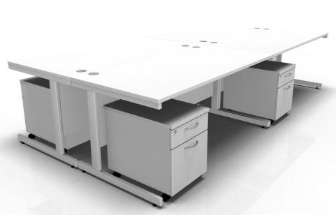 Draycott Four Person Desk In White