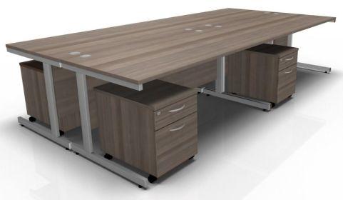 Draycott Four Person Desk In Walnut
