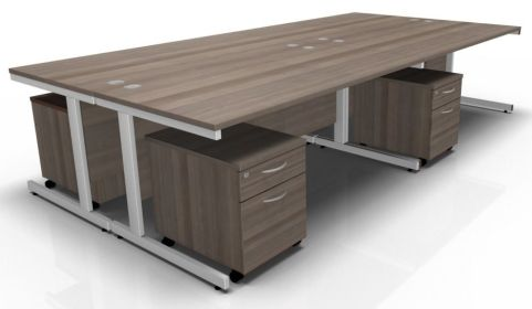 Draycott Four Person Desk In Grey Oak