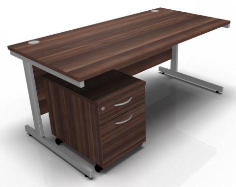 Draycott Rectangular Desk And Two Drawer Pedestal In Walnut