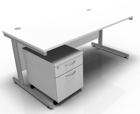 Draycott Rectangular Desk And Two Drawer Mobile Pedestal In White
