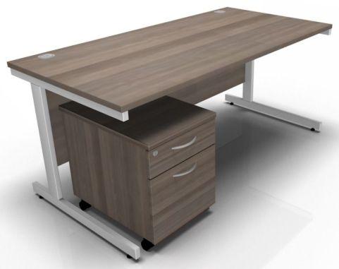 Draycott Rectangular Desk And Two Drawer Mobile Pedestal In Grey Oak