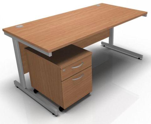 Draycott Rectangular Desk And Two Drawer Mobile Pedestal In Oak