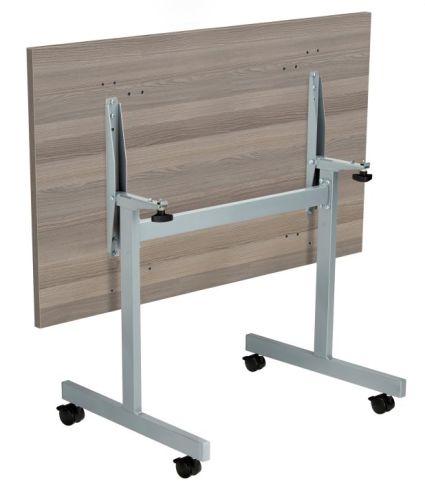 Draycott Rectangular Folding Table In Grey Oak Folded Reverse View