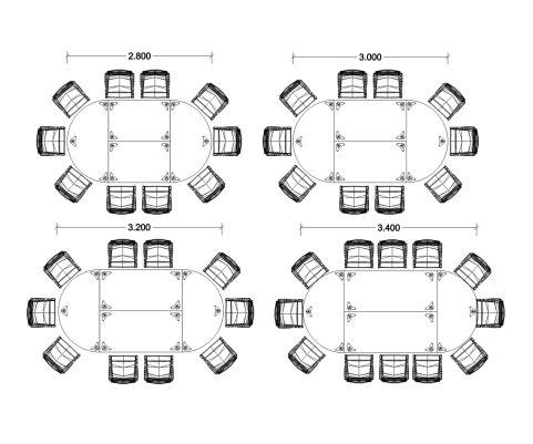 Dams Meeting Tables Dimesions