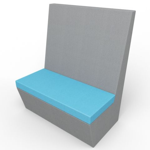 Standa 2 Person Straight Acoustic Seating - Dark Gray And Blue Fabric