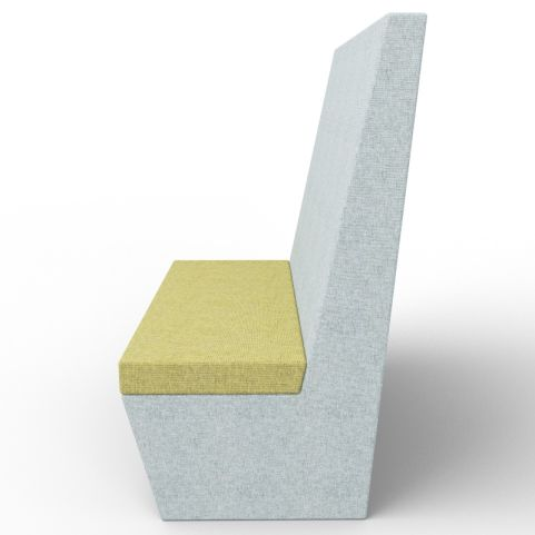 Standa 2 Person Straight Acoustic Seating - Gray And Green Fabric - Side View