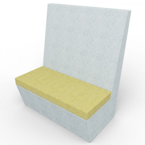 Standa 2 Person Straight Acoustic Seating - Gray And Green Fabric