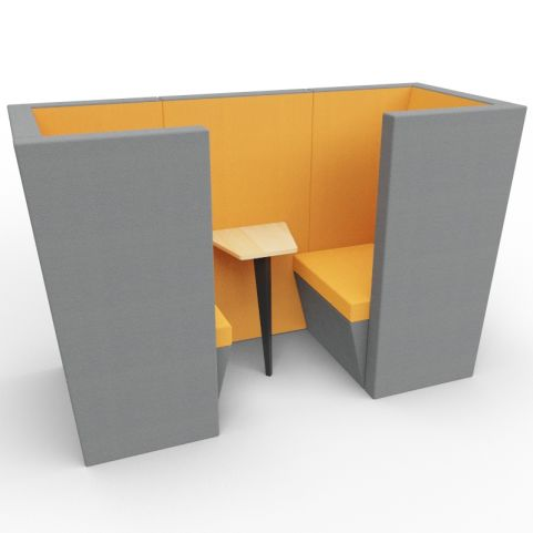 Standa 2 Person Den (with Arms) - Two Tone Dark Grey & Orange Fabric - Standard Table With Black Leg