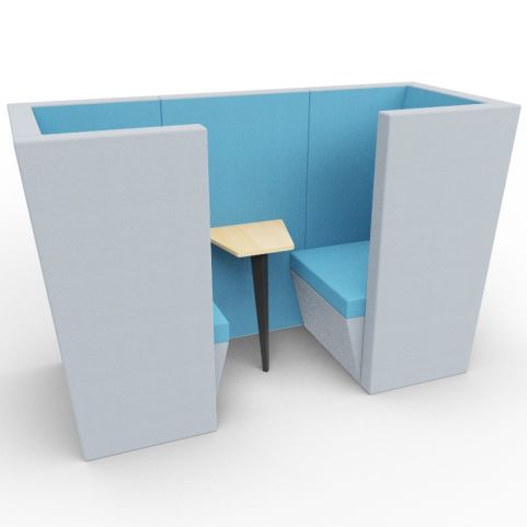 Standa 2 Person Den (with Arms) - Two Tone Grey & Blue Fabric - Standard Table With Black Leg