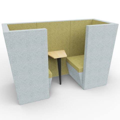 Standa 2 Person Den (with Arms) - Two Tone Grey & Green Fabric - Standard Table With Black Leg