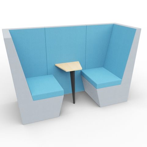Standa 2 Person Den (without Arms) - Two Tone Grey & Blue Fabric - Standard Table With Black Leg