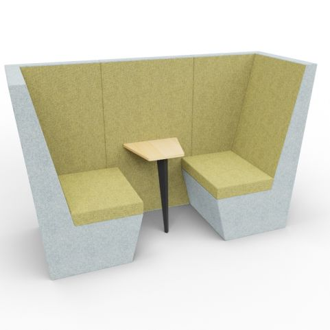 Standa 2 Person Den (without Arms) - Two Tone Grey & Green Fabric - Standard Table With Black Leg