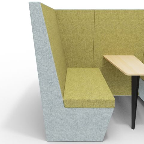 Standa 4 Person Den With Arms - Two Tone Grey & Green Fabric - Standard Beech Table With Black Leg - Front View Close Up