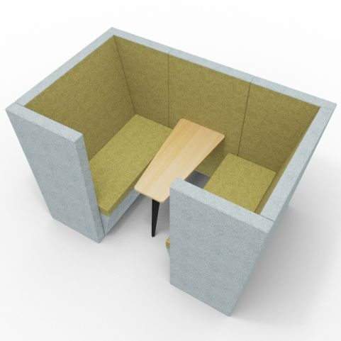 Standa 4 Person Den With Arms - Two Tone Grey & Green Fabric - Standard Beech Table With Black Leg