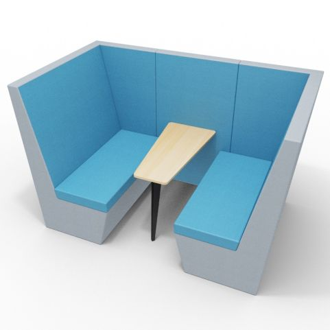 Standa 4 Person Den Without Arms - Two Tone Grey & Blue Fabric - Standard Beech Table With Black Leg