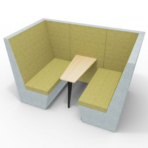 Standa 4 Person Den Without Arms - Two Tone Grey & Green Fabric - Standard Beech Table With Black Leg