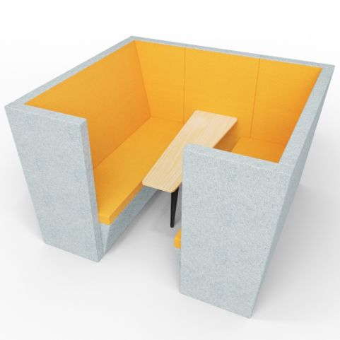 Standa 6 Person Acoustic Den - With Arms - Light Grey & Orange - Standard Table With Black Leg
