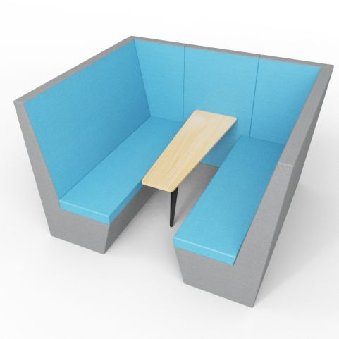 Standa 6 Person Acoustic Den - Without Arms - Blue & Light Grey - Standard Table With Black Leg