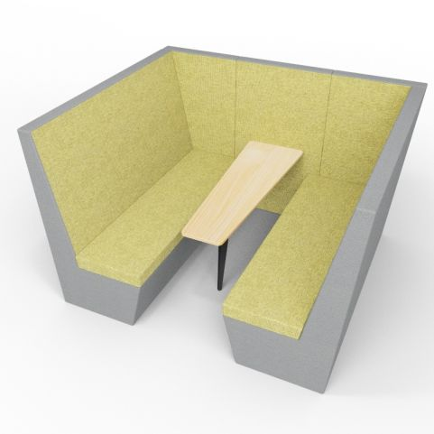 Standa 6 Person Acoustic Den - Without Arms - Dark Grey & Green - Standard Table With Black Leg
