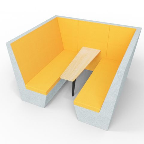 Standa 6 Person Acoustic Den - Without Arms - Grey & Orange - Standard Table With Black Leg