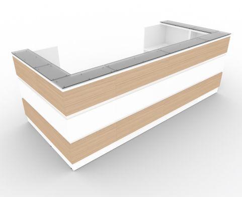 Allure Recption Desk U Shaped Desk With Verde Oak And Whiet Central Panel