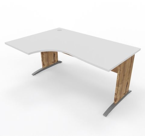 Oslo Desk Left Handed White Top Timber Legs - Copy