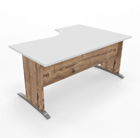 Oslo Desk Left Handed White Top Timber Legs Frront View - Copy