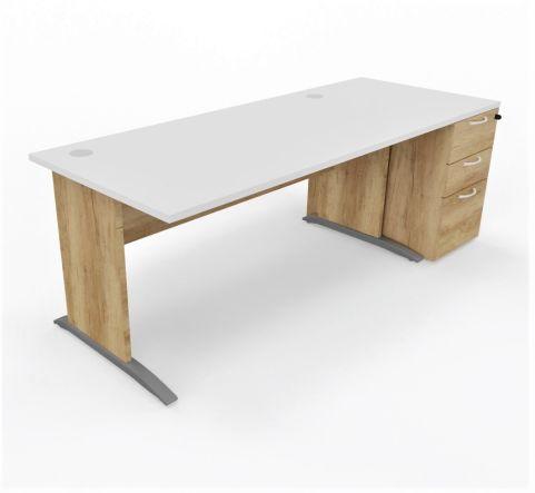 Oslo Straight Desk With Desk High Pedestal White Top