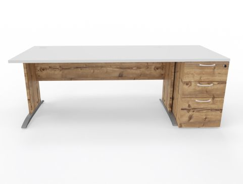 Oslo Straight Front View With Desk High Pedestal In Timber